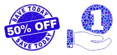 Geometric coin donation hand mosaic pictogram and Save Today 50% Off seal stamp. Blue vector round textured seal with Save Today 50% Off caption. Abstract mosaic of coin donation hand made of spheric,