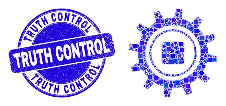 Geometric gear mosaic pictogram and Truth Control seal stamp. Blue vector round scratched seal with Truth Control phrase. Abstract mosaic of gear made of spheric, triangles, square geometric spots. Illustration