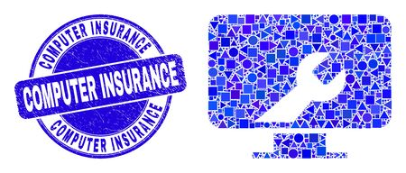 Geometric computer settings wrench mosaic pictogram and Computer Insurance seal stamp. Blue vector rounded textured seal stamp with Computer Insurance title. Иллюстрация