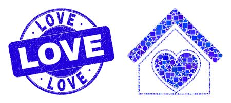 Geometric love house mosaic icon and Love seal stamp. Blue vector rounded scratched seal stamp with Love title. Abstract collage of love house designed of circle, triangles, square geometric items.  イラスト・ベクター素材