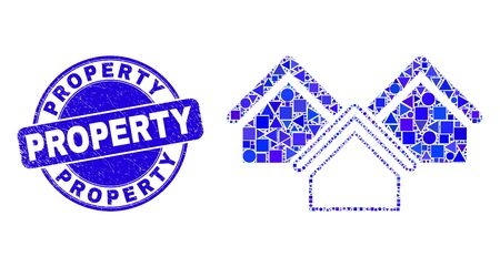 Geometric houses mosaic icon and Property seal stamp. Blue vector round grunge seal with Property phrase. Abstract mosaic of houses designed of circle, tringle, square geometric spots.