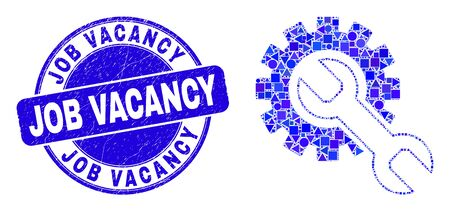 Geometric setup tools mosaic pictogram and Job Vacancy seal stamp. Blue vector round distress seal stamp with Job Vacancy message. Abstract concept of setup tools done of circle, tringle,