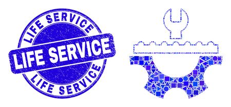 Geometric plumbery service mosaic pictogram and Life Service stamp. Blue vector round distress seal stamp with Life Service text. Abstract collage of plumbery service organized of round, triangles, Illustration