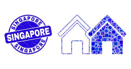 Geometric houses mosaic icon and Singapore stamp. Blue vector round grunge stamp with Singapore message. Abstract mosaic of houses designed of round, triangles, square geometric spots.