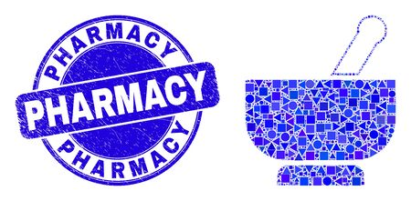 Geometric mortar mosaic pictogram and Pharmacy stamp. Blue vector round textured seal with Pharmacy text. Abstract mosaic of mortar created of round, triangles, square geometric elements.