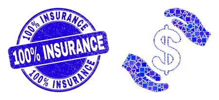 Geometric hands care dollar mosaic pictogram and 100% Insurance seal stamp. Blue vector round distress seal stamp with 100% Insurance message. Illustration
