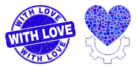 Geometric love gear mosaic pictogram and With Love seal stamp. Blue vector rounded textured seal stamp with Love title. Abstract composition of love gear organized of round, triangles, Illustration