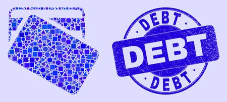 Geometric dollar bank cards mosaic icon and Debt stamp. Blue vector round distress seal stamp with Debt text. Abstract collage of dollar bank cards constructed of round, tringle,