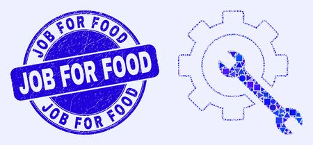 Geometric service tools mosaic icon and Job for Food stamp. Blue vector rounded grunge seal stamp with Job for Food message. Abstract mosaic of service tools combined of round, triangles,