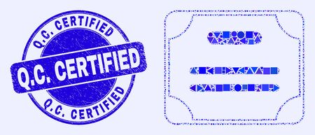 Geometric certificate diploma mosaic pictogram and Q.C. Certified seal. Blue vector round grunge seal with Q.C. Certified caption. Abstract mosaic of certificate diploma created of circle, triangles,