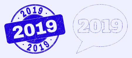 Geometric 2019 message balloon mosaic pictogram and 2019 watermark. Blue vector round scratched watermark with 2019 title. Abstract mosaic of 2019 message balloon done of circle, triangles,