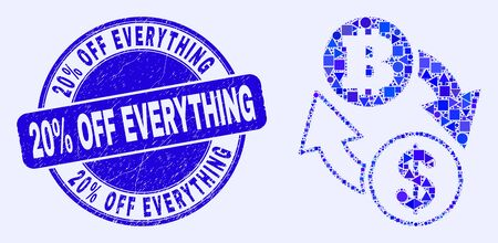 Geometric dollar bitcoin exchange mosaic pictogram and 20% Off Everything stamp. Blue vector round scratched stamp with 20% Off Everything text. Çizim