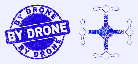 Geometric quadcopter mosaic pictogram and By Drone seal stamp. Blue vector rounded scratched stamp with By Drone caption. Abstract mosaic of quadcopter organized of round, tringle, Çizim