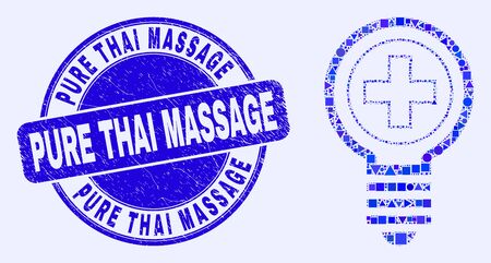 Geometric medical bulb mosaic pictogram and Pure Thai Massage seal stamp. Blue vector round textured stamp with Pure Thai Massage text. Abstract mosaic of medical bulb created of spheric, tringle,