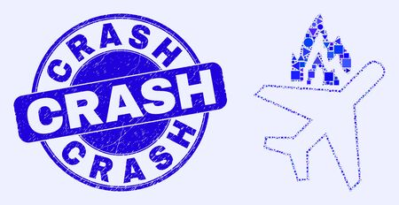 Geometric airplane crash mosaic icon and Crash seal stamp. Blue vector round distress stamp with Crash text. Abstract composition of airplane crash constructed of round, tringle,