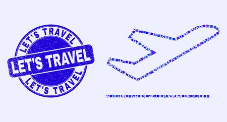 Geometric airplane takeoff mosaic pictogram and LetS Travel seal stamp. Blue vector round distress seal with LetS Travel title. Abstract mosaic of airplane takeoff created of round, triangles, Ilustração