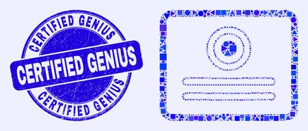 Geometric certificate mosaic icon and Certified Genius seal. Blue vector round distress seal with Certified Genius text. Abstract mosaic of certificate done of round, triangles, 일러스트