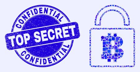 Geometric bitcoin lock mosaic icon and Confidential Top Secret seal stamp. Blue vector rounded distress stamp with Confidential Top Secret phrase. Abstract mosaic of bitcoin lock organized of sphere,
