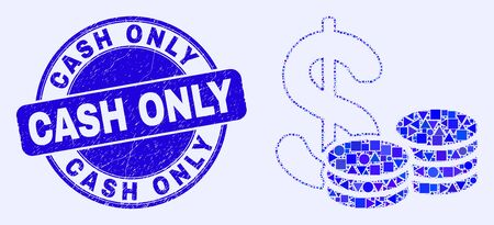 Geometric cash mosaic icon and Cash Only seal stamp. Blue vector rounded grunge seal stamp with Cash Only text. Abstract composition of cash organized of spheric, triangles, square geometric items.