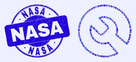 Geometric repair wrench mosaic icon and NASA watermark. Blue vector round textured seal stamp with NASA text. Abstract mosaic of repair wrench done of round, triangles, square geometric items.