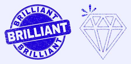 Geometric spark brilliant mosaic icon and Brilliant seal stamp. Blue vector round grunge seal with Brilliant caption. Abstract composition of spark brilliant constructed of round, tringle,