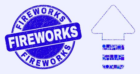 Geometric update arrow mosaic icon and Fireworks seal stamp. Blue vector round distress stamp with Fireworks title. Abstract concept of update arrow composed of round, triangles, Çizim