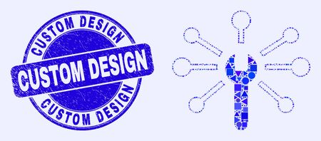 Geometric wrench links mosaic icon and Custom Design seal stamp. Blue vector rounded scratched seal stamp with Custom Design title. Abstract mosaic of wrench links organized of spheric, tringle,