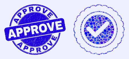 Geometric approve seal mosaic icon and Approve seal stamp. Blue vector rounded distress seal stamp with Approve caption. Abstract concept of approve seal constructed of spheric, triangles,