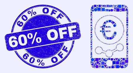 Geometric mobile euro chart mosaic pictogram and 60% Off stamp. Blue vector round distress stamp with 60% Off message. Abstract mosaic of mobile euro chart done of spheric, tringle,