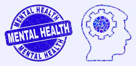 Geometric gear thinking head mosaic icon and Mental Health stamp. Blue vector rounded textured stamp with Mental Health text. Abstract mosaic of gear thinking head organized of spheric, tringle,