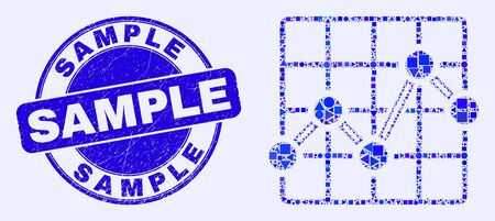 Geometric chart grid mosaic icon and Sample stamp. Blue vector round textured seal stamp with Sample message. Abstract mosaic of chart grid composed of circle, triangles, square geometric elements.