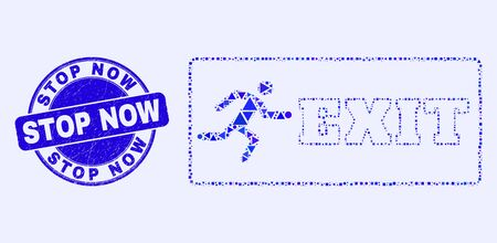 Geometric emergency exit mosaic pictogram and Stop Now seal stamp. Blue vector round distress seal stamp with Stop Now caption. Abstract concept of emergency exit made of round, triangles, 向量圖像