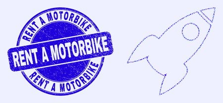 Geometric rocket mosaic icon and Rent a Motorbike seal stamp. Blue vector round scratched seal stamp with Rent a Motorbike phrase. Abstract composition of rocket designed of sphere, tringle,