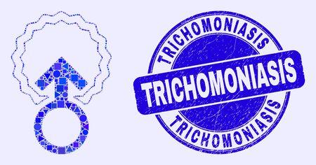 Geometric insemination mosaic icon and Trichomoniasis stamp. Blue vector round grunge seal stamp with Trichomoniasis title. Abstract mosaic of insemination combined of round, tringle, Ilustração