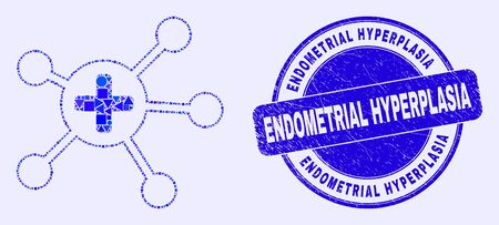 Geometric medical links mosaic pictogram and Endometrial Hyperplasia seal stamp. Blue vector round textured seal stamp with Endometrial Hyperplasia caption.