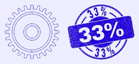 Geometric cog mosaic icon and 33% seal. Blue vector rounded scratched seal stamp with 33% phrase. Abstract mosaic of cog made of round, tringle, square geometric elements. Ilustração
