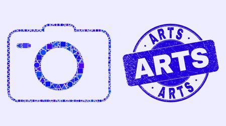 Geometric photo camera mosaic pictogram and Arts seal stamp. Blue vector round scratched seal stamp with Arts title. Abstract mosaic of photo camera constructed of sphere, triangles, Ilustração