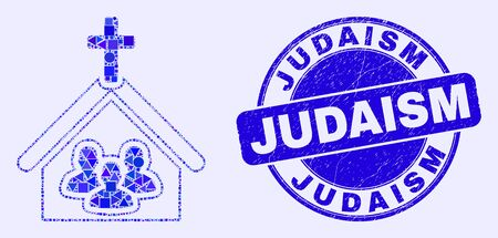 Geometric church people mosaic icon and Judaism seal stamp. Blue vector round scratched seal with Judaism text. Abstract composition of church people made of round, tringle, square geometric elements.