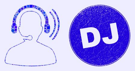 Geometric radio operator headset mosaic icon and Dj stamp. Blue vector round grunge seal stamp with Dj message. Abstract collage of radio operator headset done of round, tringle, Ilustração