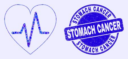 Geometric heart pulse mosaic pictogram and Stomach Cancer seal stamp. Blue vector round textured seal stamp with Stomach Cancer phrase. Abstract mosaic of heart pulse created of round, tringle,