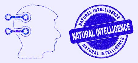 Geometric brain interface links mosaic icon and Natural Intelligence seal stamp. Blue vector round scratched watermark with Natural Intelligence text. Ilustração