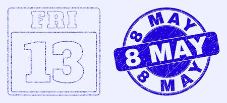 Geometric 13 friday calendar page mosaic icon and 8 May seal. Blue vector rounded textured seal stamp with 8 May caption. Abstract mosaic of 13 friday calendar page made of circle, tringle,