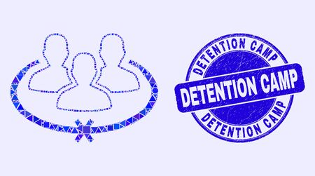 Geometric jailed persons mosaic icon and Detention Camp seal. Blue vector rounded textured seal stamp with Detention Camp text. Abstract mosaic of jailed persons made of circle, tringle,
