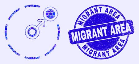 Geometric move to circle perimeter mosaic icon and Migrant Area seal stamp. Blue vector round textured watermark with Migrant Area title.