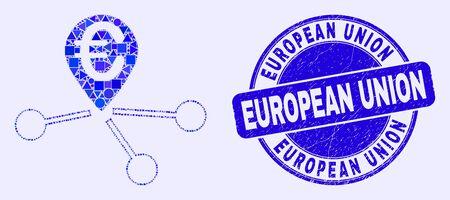 Geometric euro location links mosaic icon and European Union seal. Blue vector round textured seal with European Union message. Abstract composition of euro location links combined of round, tringle, Ilustração