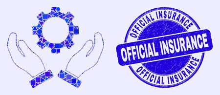 Geometric gear care hands mosaic pictogram and Official Insurance seal stamp. Blue vector round distress seal stamp with Official Insurance title. Abstract mosaic of gear care hands done of circle,