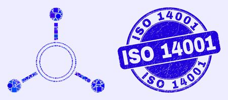 Geometric masternode links mosaic icon and ISO 14001 seal. Blue vector round scratched seal with ISO 14001 title. Abstract collage of masternode links combined of round, triangles,