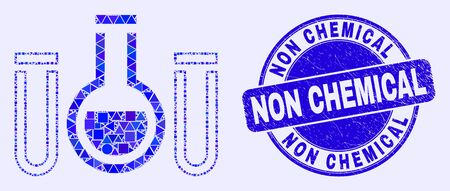 Geometric chemical tubes mosaic icon and Non Chemical seal stamp. Blue vector round distress seal with Non Chemical phrase. Abstract composition of chemical tubes constructed of round, tringle, Ilustração