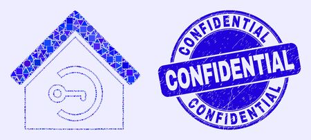Geometric home keyhole mosaic pictogram and Confidential seal stamp. Blue vector round distress stamp with Confidential title. Abstract collage of home keyhole combined of round, tringle,