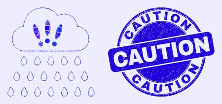 Geometric strong rain clouds mosaic icon and Caution seal stamp. Blue vector rounded grunge seal stamp with Caution title. Abstract mosaic of strong rain clouds constructed of round, triangles,